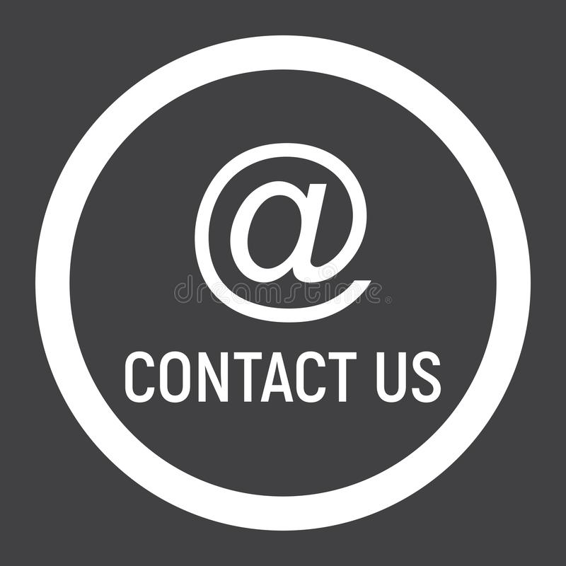 Email address line icon, contact us and website stock illustration
