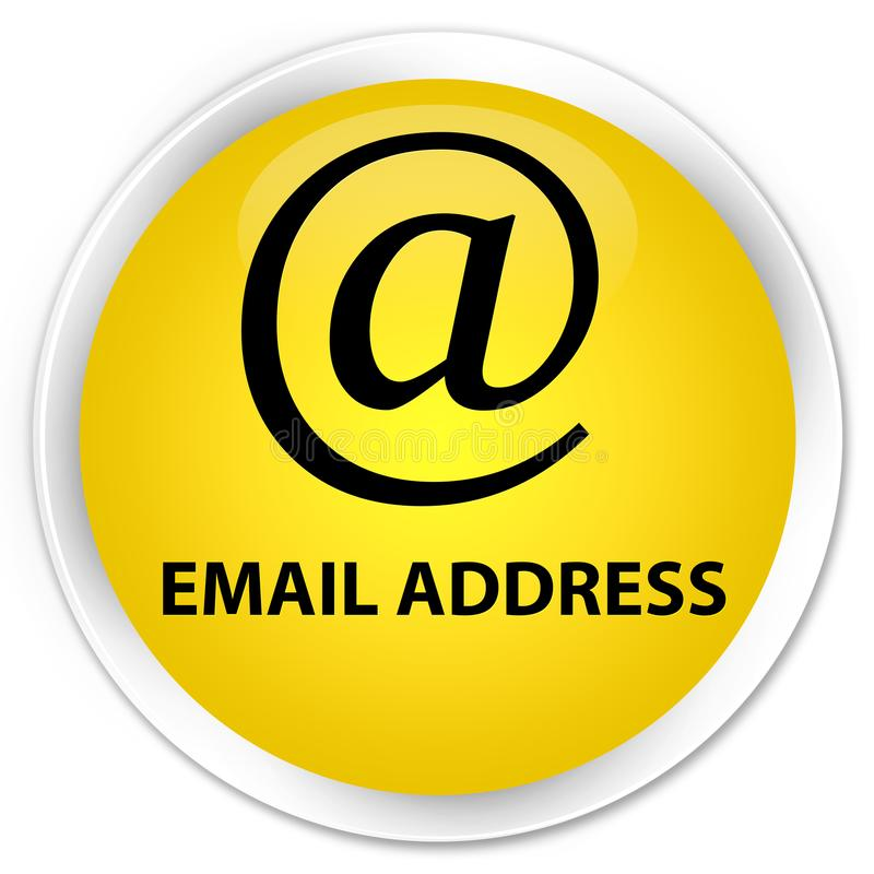 Email address premium yellow round button. Email address isolated on premium yellow round button abstract illustration royalty free illustration