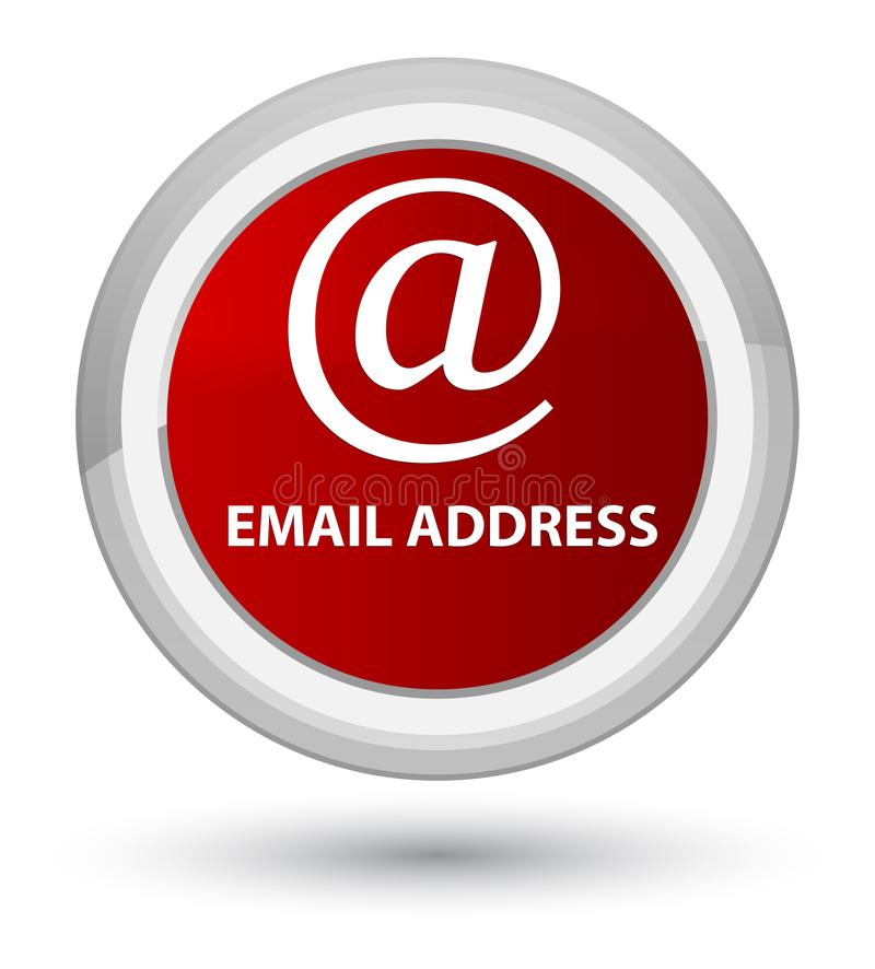 Email address prime red round button. Email address isolated on prime red round button abstract illustration stock illustration