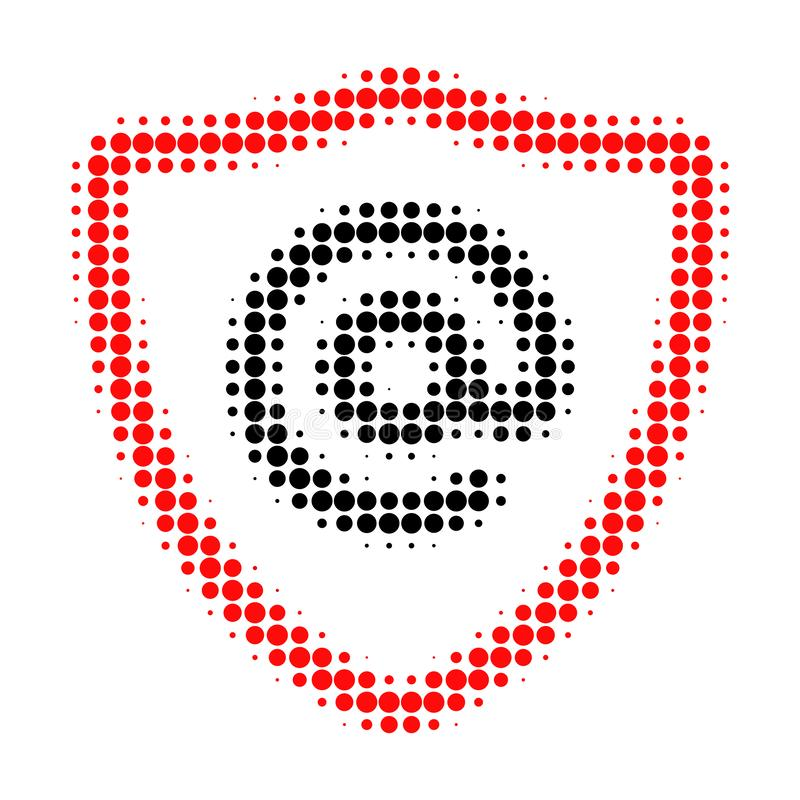 Email Address Protection Halftone Dotted Icon. Halftone array contains circle pixels. Vector illustration of email address protection icon on a white royalty free illustration