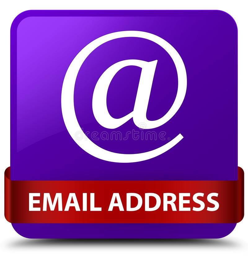 Email address purple square button red ribbon in middle. Email address isolated on purple square button with red ribbon in middle abstract illustration royalty free illustration
