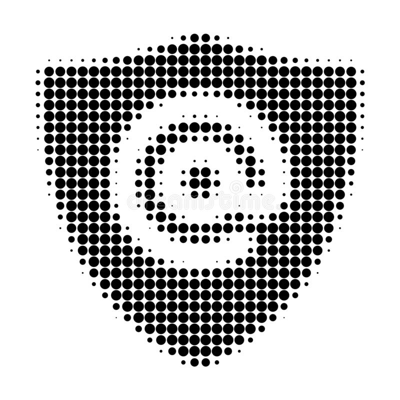 Email Address Shield Halftone Dotted Icon. Halftone pattern contains round pixels. Vector illustration of email address shield icon on a white background royalty free illustration