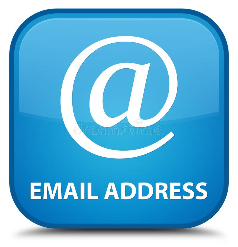 Email address special cyan blue square button. Email address isolated on special cyan blue square button abstract illustration royalty free illustration
