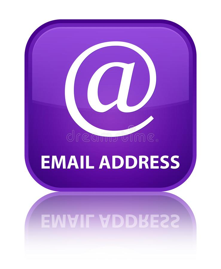 Email address special purple square button. Email address isolated on special purple square button reflected abstract illustration royalty free illustration