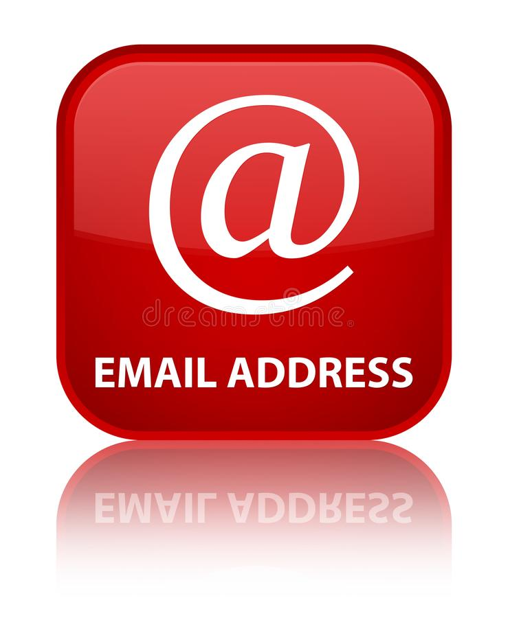 Email address special red square button. Email address isolated on special red square button reflected abstract illustration stock illustration