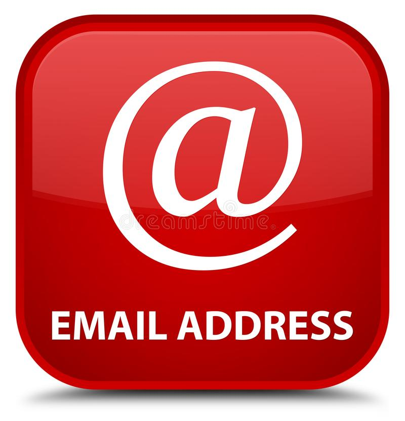 Email address special red square button. Email address isolated on special red square button abstract illustration royalty free illustration