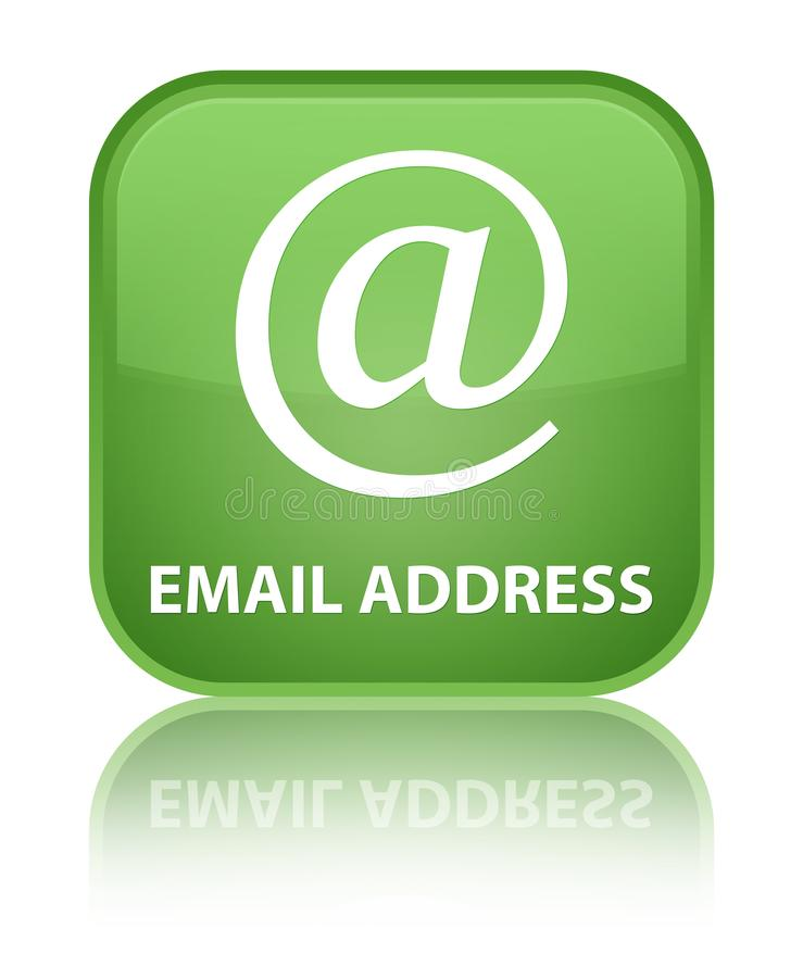Email address special soft green square button. Email address isolated on special soft green square button reflected abstract illustration vector illustration