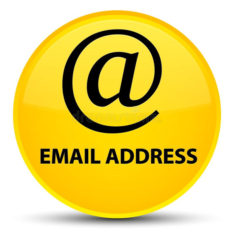Email address special yellow round button. Email address isolated on special yellow round button abstract illustration royalty free illustration