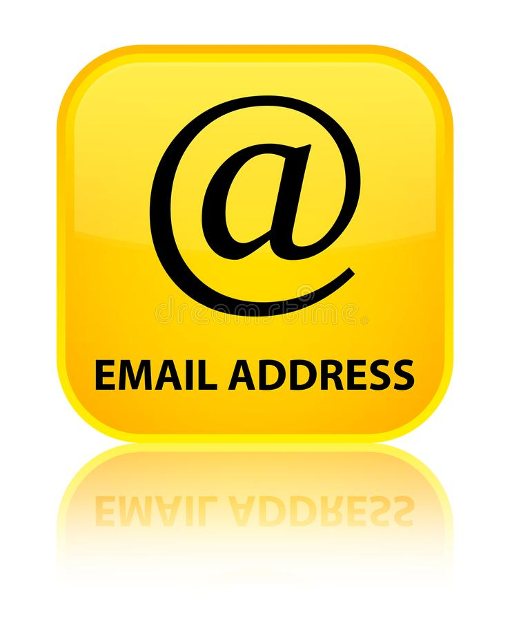 Email address special yellow square button. Email address isolated on special yellow square button reflected abstract illustration royalty free illustration