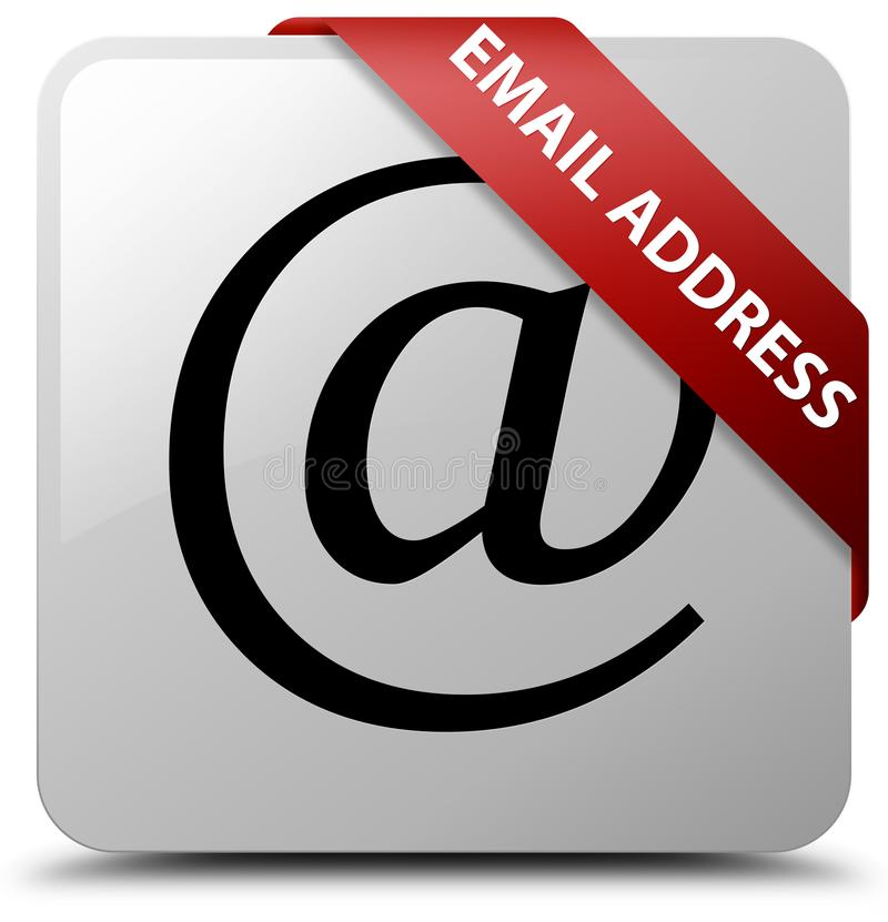 Email address white square button red ribbon in corner. Email address isolated on white square button with red ribbon in corner abstract illustration vector illustration