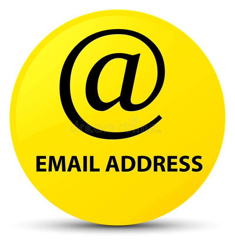 Email address yellow round button. Email address isolated on yellow round button abstract illustration royalty free illustration