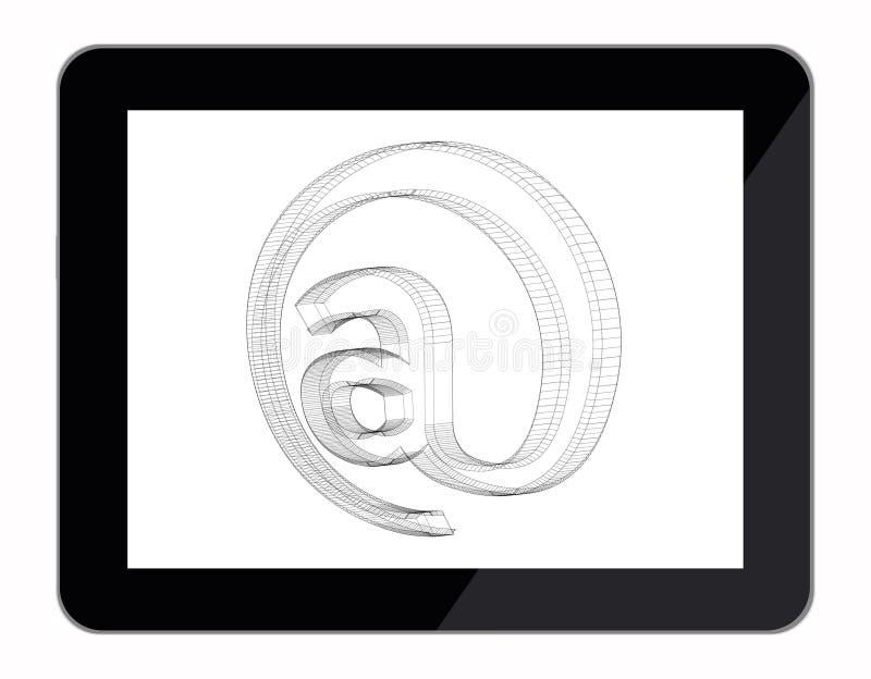 Email al modello del segno in computer della compressa illustrazione di stock