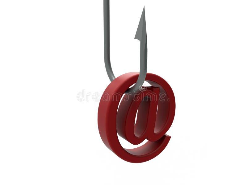 Email alias on hook royalty free illustration
