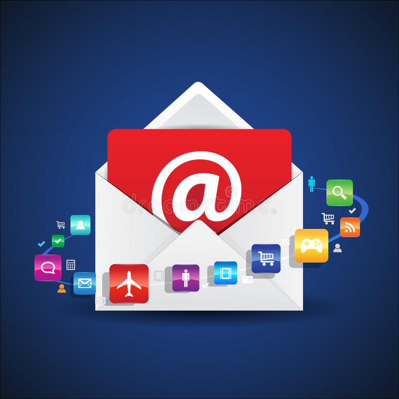 Email Apps del contatto illustrazione di stock