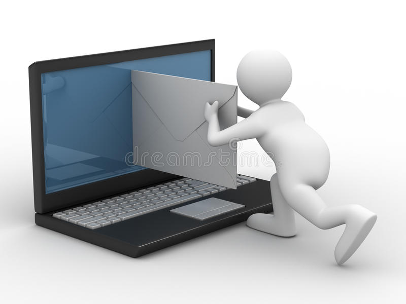 EMail auf weißem Hintergrund lizenzfreie abbildung