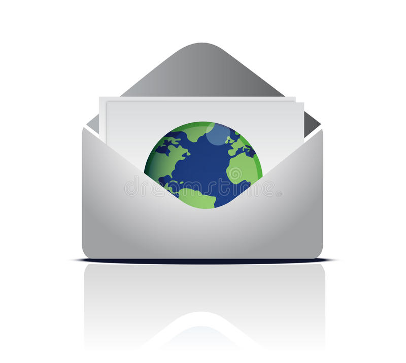 Email autour du monde illustration de vecteur
