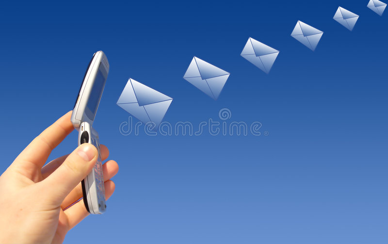 Email being sent by a wireless stock photography