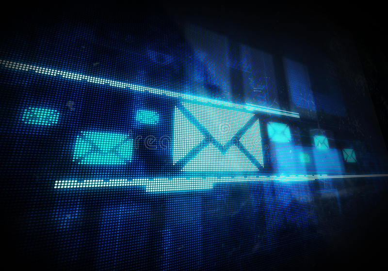 Email. On blue digital background. Digitally generated image