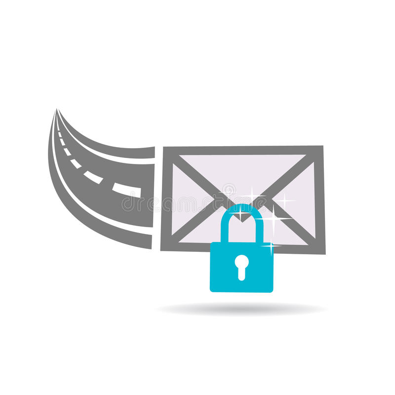 Email Communication Encrypted through the Internet Highway Logo. Concept for a Secured Internet Connection vector illustration