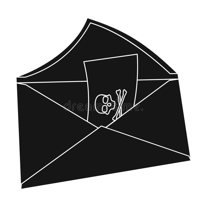 Email con el icono del virus en estilo negro aislado en el fondo blanco Piratas informáticos y cortar el ejemplo común del vector ilustración del vector