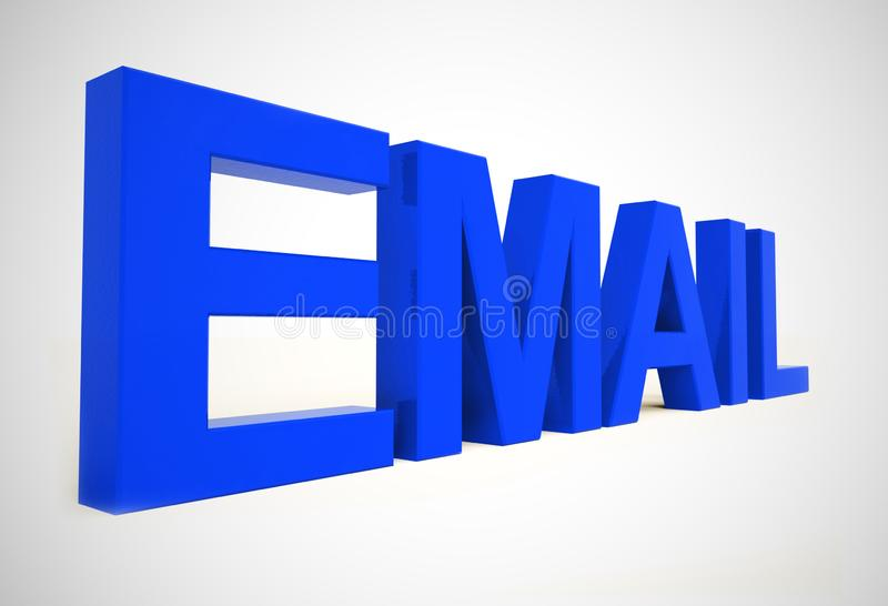 Email concept icons means electronic mail correspondence using internet - 3d illustration. Email concept icons means electronic mail correspondence using royalty free illustration