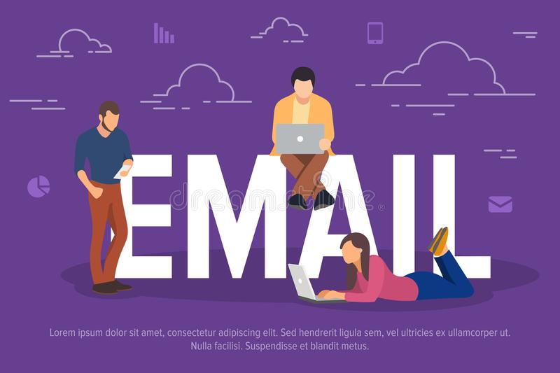 Email concept vector illustration. Business people using devices for sending emails. Flat concept of young men and women royalty free illustration