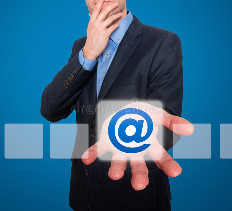 Email And Contact Symbols In Front Of Businessman - Stock ...