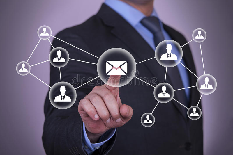 Email and contact symbols. Working with virtual screen growth stock image