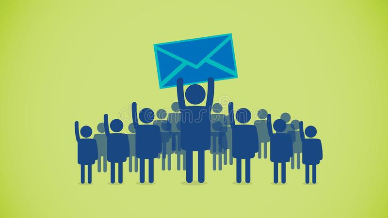 Email crowd. An illustration and symbol for an email receiver in a crowd of other users vector illustration