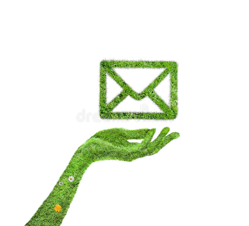 Email d'herbe de symbole illustration de vecteur