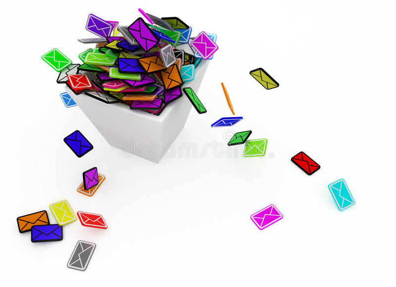email de couleur de coffre illustration de vecteur