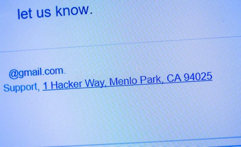 Email de Facebook avec la manière Menlo Park CA de pirate informatique de l'adresse de l'entreprise 1 photo stock