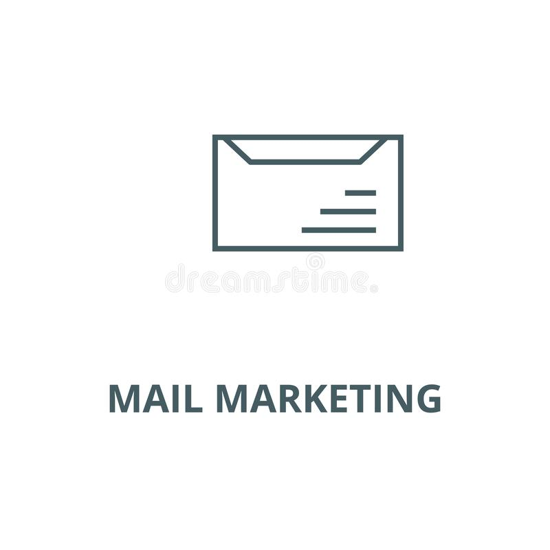 Email delivery,mail marketing line icon, vector. Email delivery,mail marketing outline sign, concept symbol, flat. Email delivery,mail marketing line icon stock illustration
