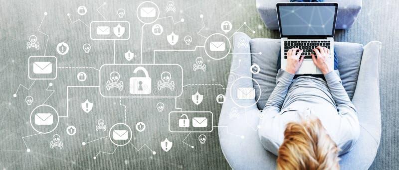 Email det virus- och Scam temat med mannen som använder en bärbar dator royaltyfri illustrationer