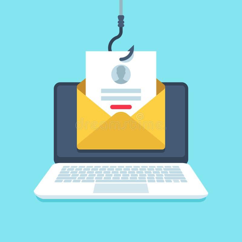 Email di Phishing Pagina di connessione di falso, email sul gancio, illustrazione di concetto di vettore di protezione di segrete illustrazione di stock