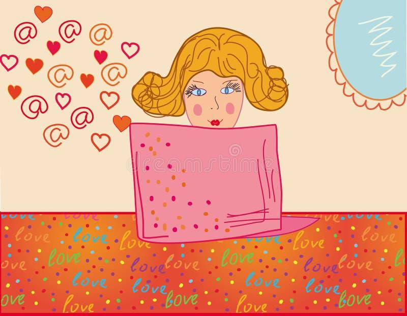 Email do amor ilustração royalty free