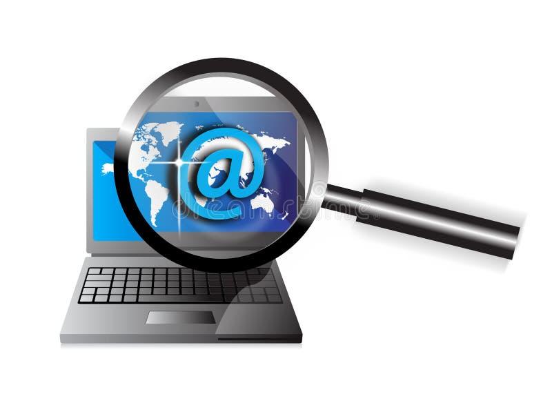 Email do foco do computador ilustração do vetor