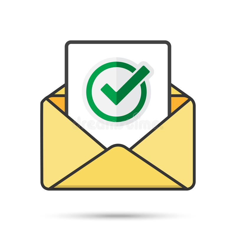 Email with document and round green check mark icon. successful verification concepts. Vector email icon stock images
