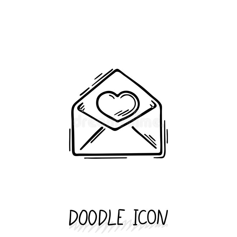 Email doodle icon. Vector pictogram. Delivery and sending mail royalty free illustration