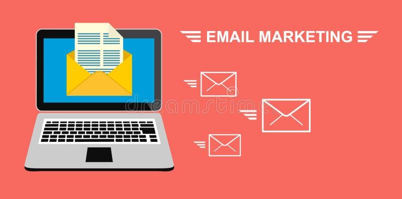Email, e-marketing, la publicité d'Internet Ordinateur portable avec une enveloppe et un document sur l'écran Actions de vecteur illustration de vecteur