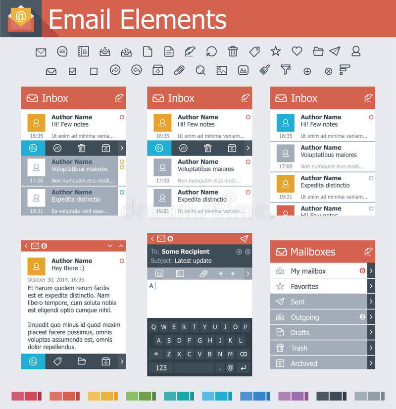 Email elements. Set of the simple email interface icons and elements vector illustration