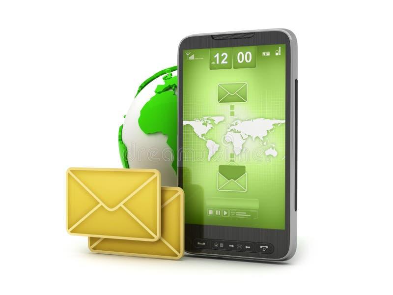 Email en el teléfono celular - tecnología móvil stock de ilustración