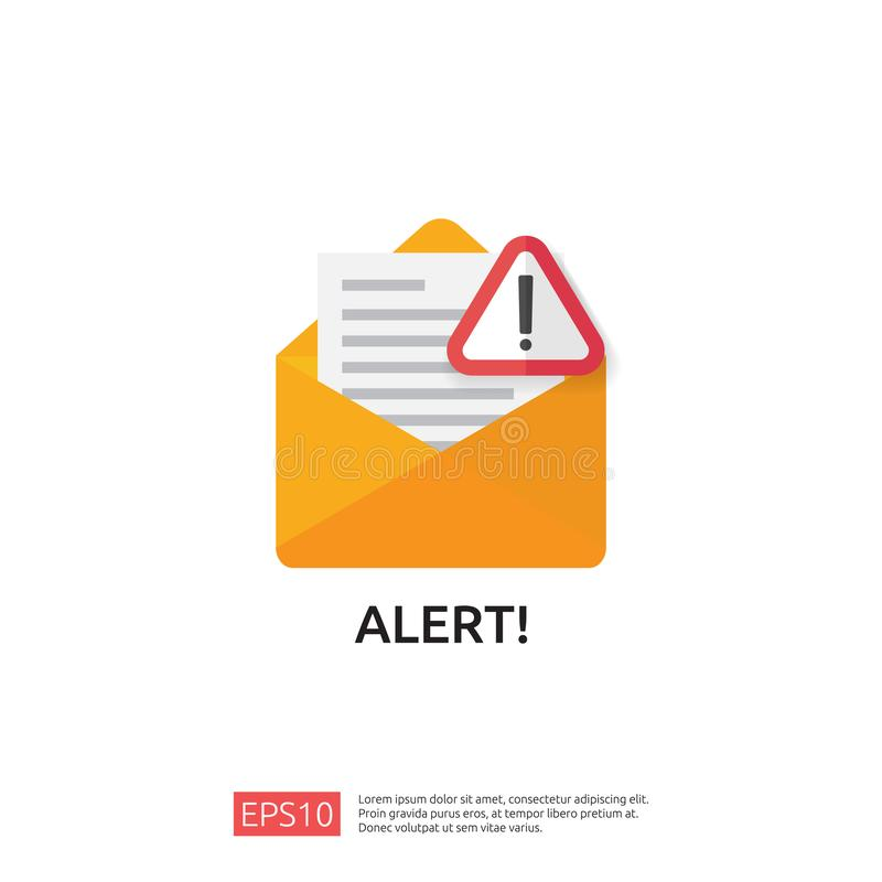Email envelope attention warning attacker alert sign with exclamation mark. internet danger concept. shield line icon for VPN. Technology cyber security stock illustration