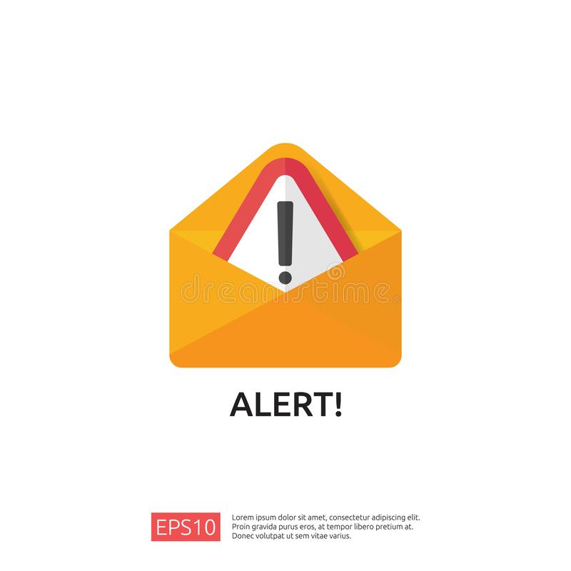 Email envelope attention warning attacker alert sign with exclamation mark. internet danger concept. shield line icon for VPN. Technology cyber security royalty free illustration