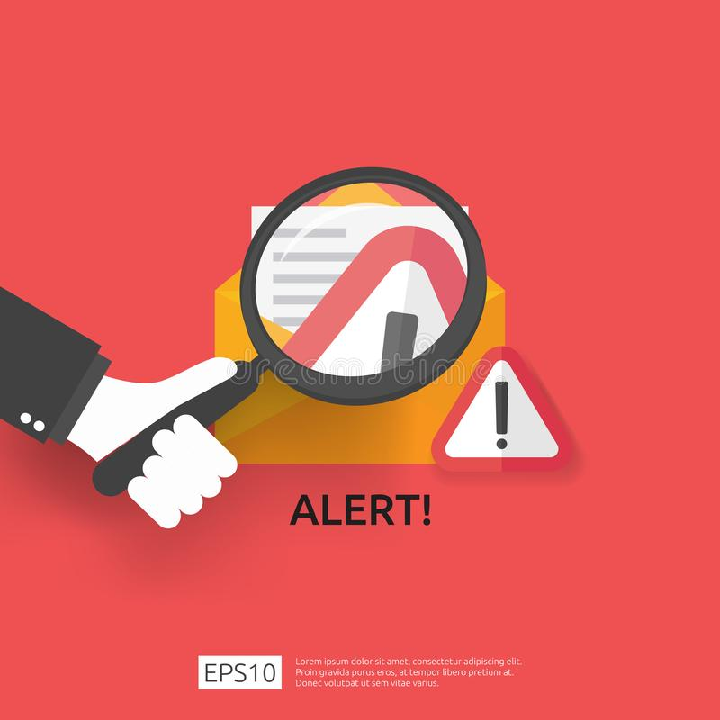 Email envelope attention warning attacker alert sign with exclamation mark. internet danger concept. shield line icon for VPN. Technology cyber security vector illustration