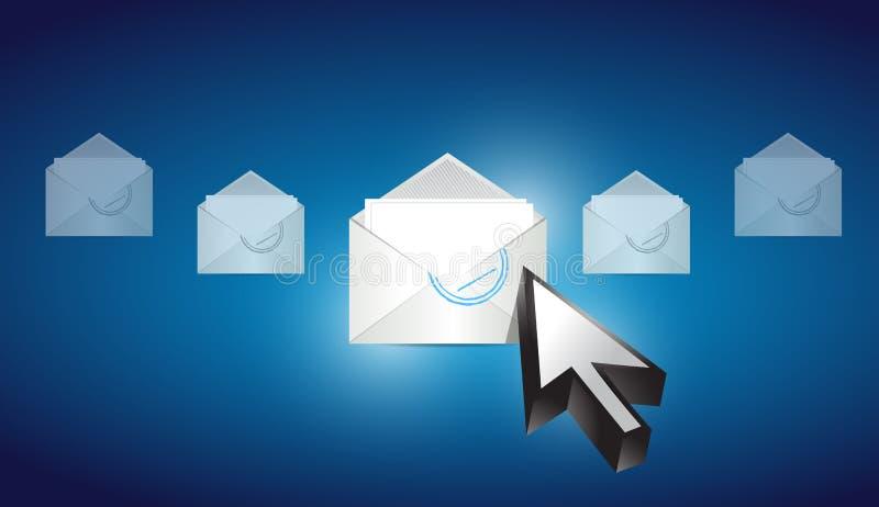 Email envelope correspondence selected. On a blue binary background illustration design royalty free illustration