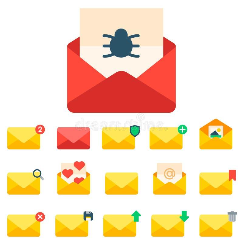 Email envelope cover icons communication correspondence blank cover address design paper empty card writing message. Email envelope cover icons communication set stock illustration