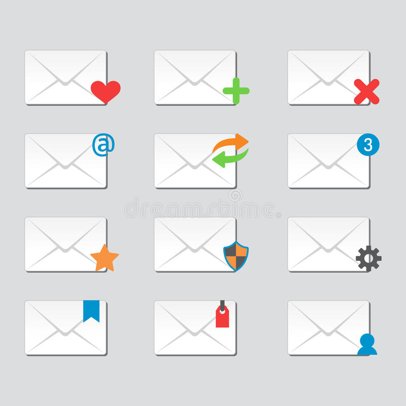 Email envelope cover icons communication and office correspondence blank cover address design paper empty card business. Email envelope cover icons communication vector illustration