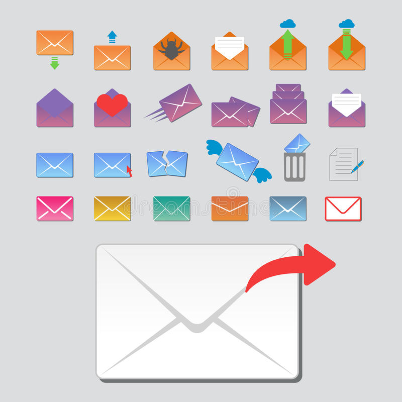 Email envelope cover icons communication and office correspondence blank cover address design paper empty card business. Email envelope cover icons communication stock illustration
