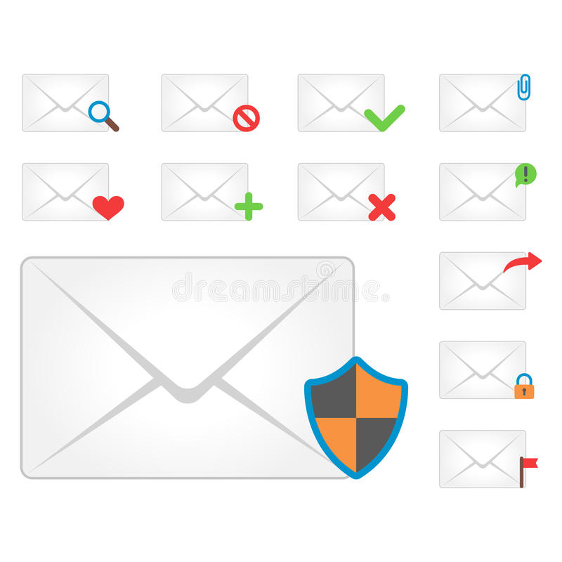 Email envelope cover icons communication and office correspondence blank cover address design paper empty card business. Email envelope cover icons communication royalty free illustration